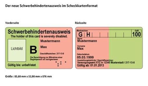 Schwerbehindertenausweis im Scheckkartenformat